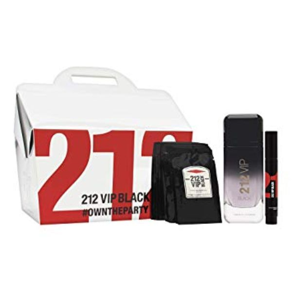 Carolina Herrera 212 VIP Black M Set / EDP 100ml / EDP 3ml / 12pcs shower gelx8 ml